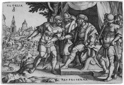 horatius cocles cloelia und der etruskerkönig porsenna 2 works from vier szenen aus der frühen römischen geschichte by georg pencz