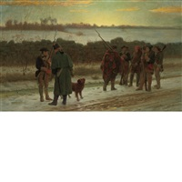 first instruction in guard duty-a scene from the revolution-9 by julian scott