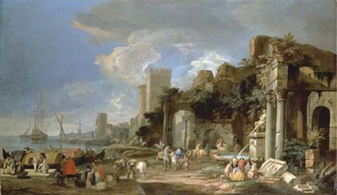 a capriccio view of a port by luca carlevariis
