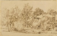 a wooded landscape with a farm and haycart by jan lievens