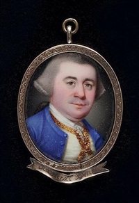 a gentleman (admiral byng?) wearing blue coat, cream waistcoat with gold edging, frilled white shirt and powdered hair worn en queue by henry spicer