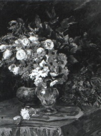 still life of flowers on a draped table by armand eugene bach