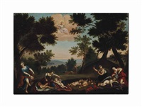 sleeping cupids disarmed by the nymphs by francesco albani