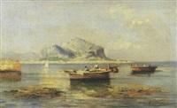 palermo, marina con barche e monte pellegrino by erminio cremp