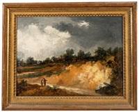 paysanne et sa fille dans un paysage sous un ciel d'orage by georges michel