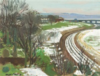 snow on magdalen green, dundee by alberto morrocco