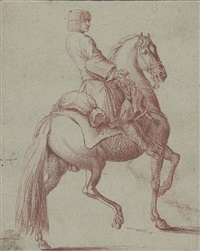 a mounted horseman (recto); study of a melancholic head (verso) by georg philipp rugendas the elder