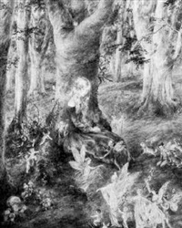 fairies and pixies dancing in a woodland glade by daphne constance allen