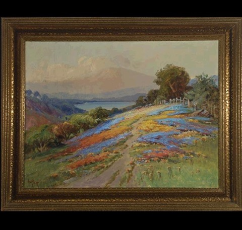 wildflowers with mt tamalpais in the distance by arthur william best