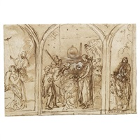 study for an altar with the adoration of the shepherds, flanked by the annunciation and the baptism of christ by jan pynas