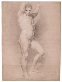 Study of a figure facing right with arms..., 1779