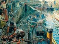 pêcheurs sur le port de biarritz by eugenio alvarez dumont