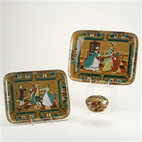 deldare ware dresser items: dancing ye minuet and heirlooms dresser trays and ye village street lidded dresser box (3 works) by buffalo pottery