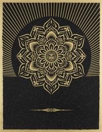 obey lotus diamond (black & gold) by shepard fairey