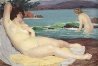 reclining nude at the shore by louis françois biloul