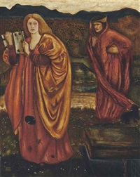 merlin and nimue from 'le mor te d'arthur' by edward burne-jones