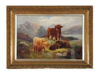 cattle in the highlands (+ a companion painting; 2 works) by angus cameron