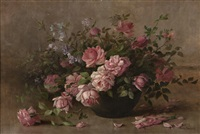 still life with pink roses and lilacs by julia i. leonard