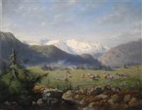 almlandschaft mit blick auf schneebedeckte berge by carl von kratzer
