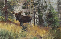 moose in a landscape by carl clemens moritz rungius