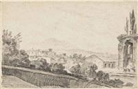 probablement une vue du monte celio depuis le palatino à rome by jacques françois amand
