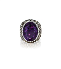 amethyst, colored diamond, and diamond ring by margherita burgener