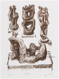 ideas for wood sculpture (c.286) by henry moore