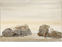 rocks with two figures, st. jean cap ferrat by yannis tsarouchis