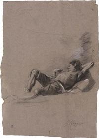 studio di figura di uomo in riposo, recto, e studio di figura, verso by giuseppe raggio