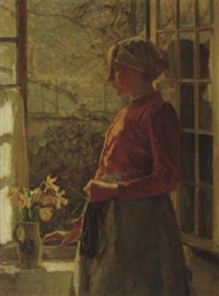 the first daffodils: girl from laren (holland) by max metzoldt
