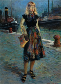 young woman in a harbour by harry maas