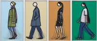 siân walking; jeremy walking in coat; verity walking; and kris walking (set of 4) by julian opie