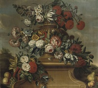 a garland of pink roses, tulips, carnations and other flowers by cornelis lens