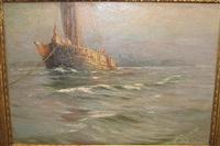 bateau de pêche ancré by albert isidore de vos