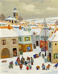 village in the snow (2 works) by jean axatard