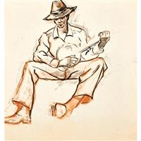 untitled (man with banjo) (recto/verso) by dox thrash