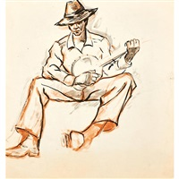 untitled (man with banjo) by dox thrash