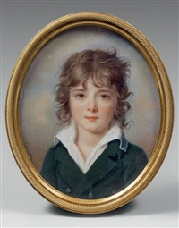 portrait de jeune garçon portant une chemise blanche ouverte et une veste grise by jean baptiste jacques augustin