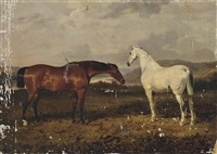 a dappled grey and a bay hunter in an extensive landscape with a river beyond by william webb