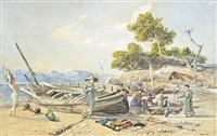 fisherfolk taking refreshments on a mediterranean shore by henri arthur bonnefoy