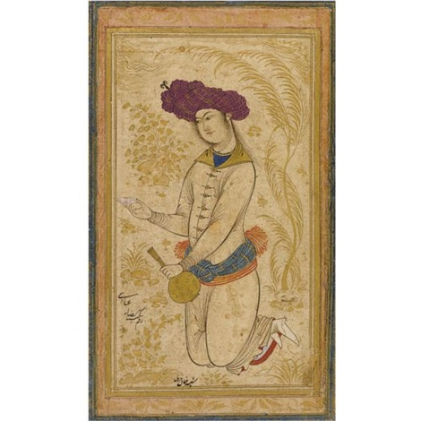 a kneeling youth holding a cup and bottle by reza i abbasi