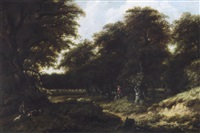 a wooded landscape with huntsmen on a path, figures resting in a clearing in the foreground by gillis rombouts