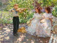 violinist playing for two young girls by yuri krotov