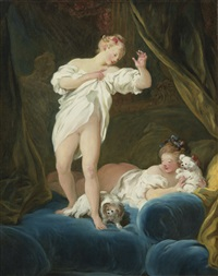 two girls on a bed playing with their dogs by jean honoré fragonard