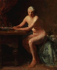 a female nude at a table by herman albert gude vedel