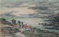 sunset on the galloway coast (+ an old corner, east wemyss; pair) by john hamilton glass
