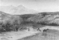 paysage de scandinavie : campement au bord de la rivière by rené billotte