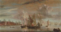 a calm: wijdshops and a threemaster at anchor in a river estuary, at sunset by abraham de verwer