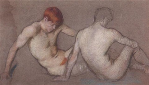 two male nudes by philip leslie hale