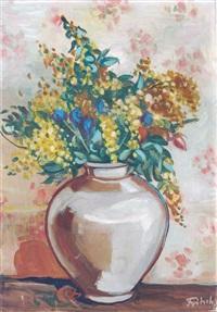 stilleben mit goldrute, hagebutten und kornblumen by ernst fritsch